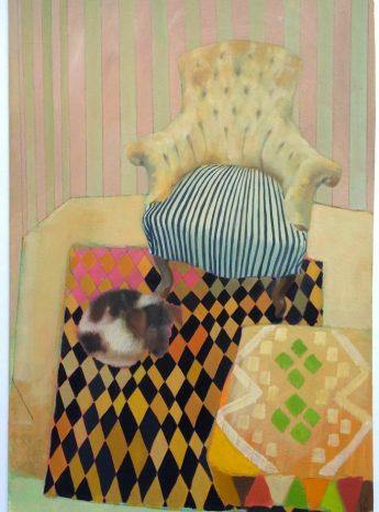 Chair, Ottoman, Dog & Rug