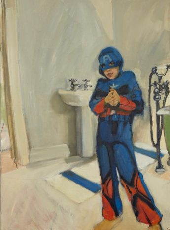 Captain America In The Bathroom