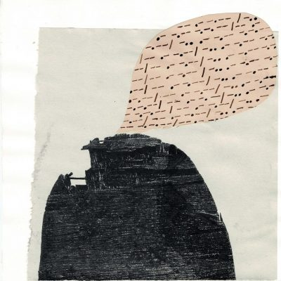 - - .- -. - - / - .. .- -.- - -.-. - - #517 1/5/21 ink, screenprint and found paper collage 19cm x 19cm